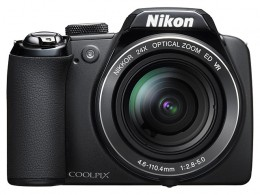 Front view of the Nikon Coolpix P90 Ultrazoom