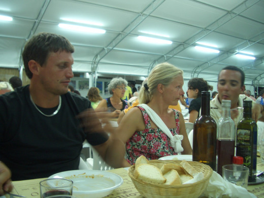 In tents, outside the Italian villages are the Summer Sagras or food festivals