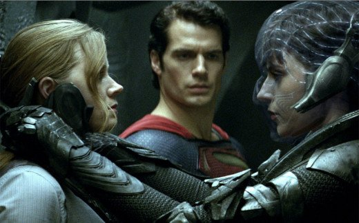 Amy Adams, Henry Cavill, and Antje Traue in Man of Steel