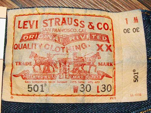 The classic label for Levi 501 jeans.