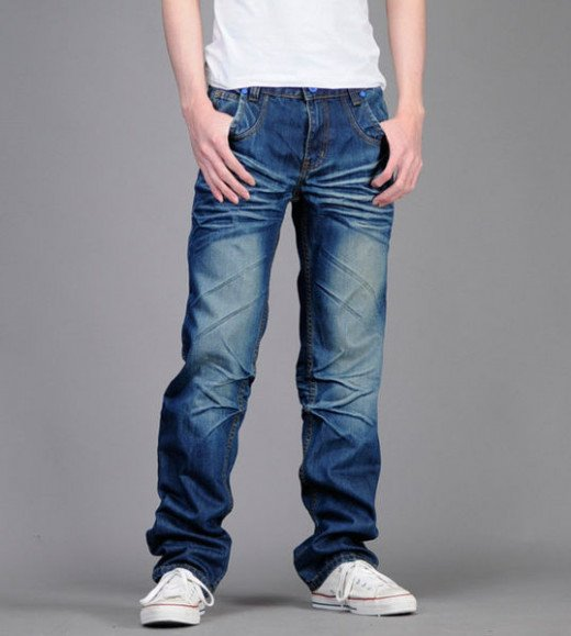 Denim blue jeans - men's clothing