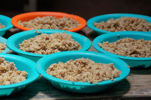 Bowls of rice to feed the hungry.