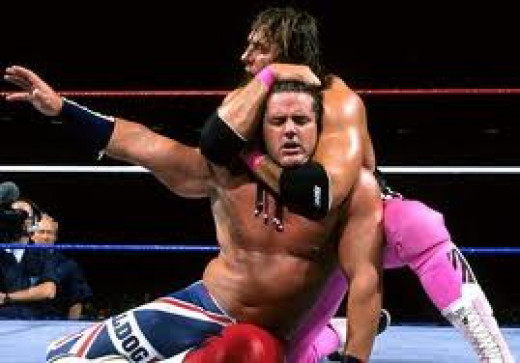 """Bret"""" The Hitman"""" Hart is putting the heat on The British Bulldog in this bout. Hart was an excellent singles and tag team wrestler."""