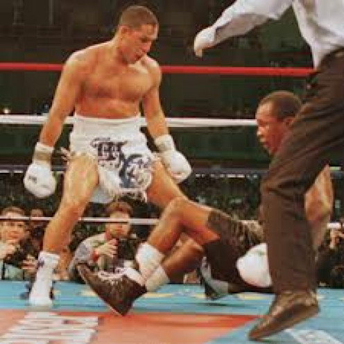 Hector Camacho seen here knocking out Sugar Ray Leonard, has some of the fastest hands in boxing history.