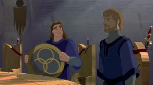Quest for Camelot ((c) Dreamworks) is one of many movies featuring European legendary hero, King Arthur. The main villain of this movie is a rogue knight, and the conflict underscores the lesson that knights should protect the weak.
