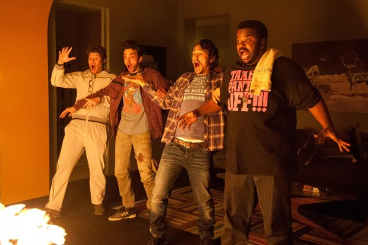 "Seth Rogan, Jay Bareschel, James Franco and Craig Robinson react to apocalyptic devastation througout the horror-comedy ""This Is the End"", in theaters now."