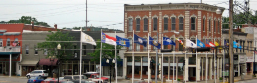 Flags in downtown Hannibal