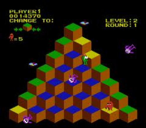 Q Bert was a puzzle to figure out while evading odd freaks that come at you. It is a very addicting puzzle type of game.