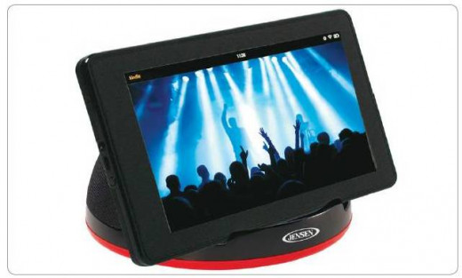 The Jensen SMPS-182 can function as a speaker for an eReader, tablet, or portable music player.