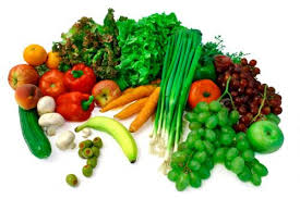 Fresh fruit, vegetables, fresh herbs and garlic in your daily diet for a healthy heart and lower cholesterol.