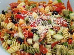 Ingredients for Pasta salad and easy to follow healthy recipes for a well balanced diet.