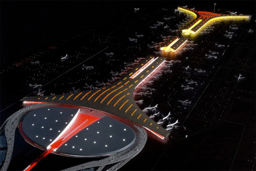 Beijing Capital International Airport is beautiful at night!