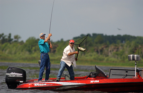 Having fun catching a nice fish during a tournament at Lake Kissimmee in Florida.