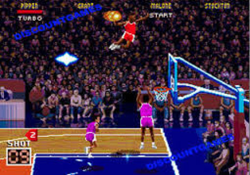 NBA Jam is a basketball game for the Sega Genesis. You can shoot and block shots but slam dunks are the best part of the game.
