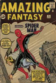 Spidey seen for the first time on the iconic cover to Amazing Fantasy # 15, drawn on th cover by Jack Kirby but inside by Steve Ditko.