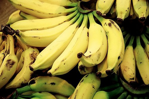 Bananas.  Some are genetically engineered to have thicker tougher skin to travel better and also to last longer before spoilage can occur.