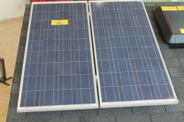 Solar panels are used to recharge a battery bank