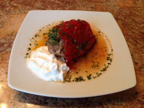 Stuffed Sweet Bell Peppers with Ground Meat and Basmati Rice, Dried Parsley Flakes and Sour Cream