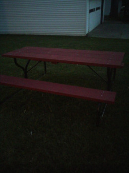 Our picnic table!  In less than 24 hours