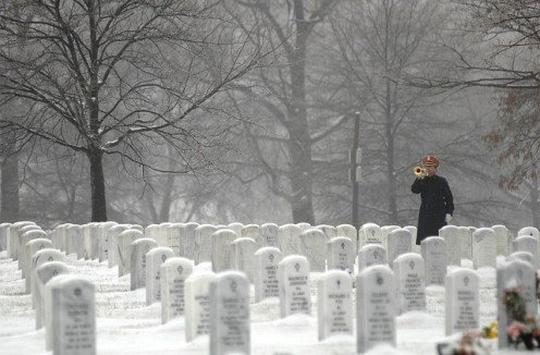 Arlington National Cemetery in winter.