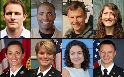 Josh Cassida, Victor Glover, Tyler Hague, Christina Hammock, Nicole Mann, Anne McClain, Jessica Meir, and Andrew Morgan.