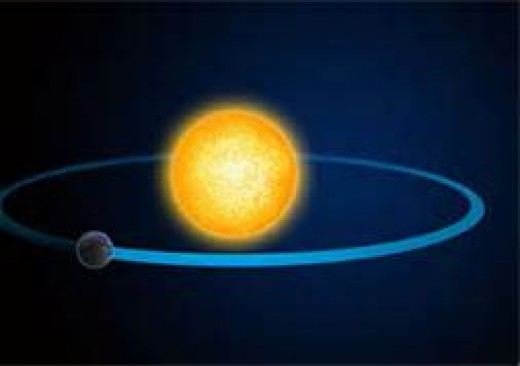 A planet orbiting the sun, an example of centripetal force.