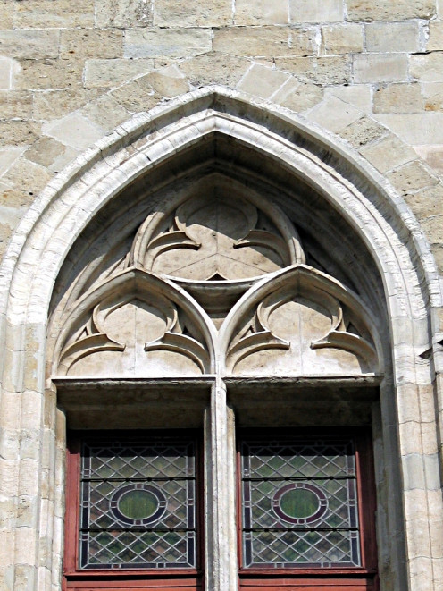 Reuleaux triangle on a window of the Belfry, Ghent