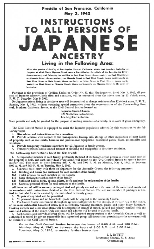 Executive Order to put all Japanese-Americans into camps during World War II.