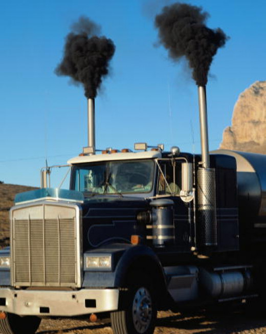 Good ole diesel truck belching out smoke. I look forward to a time when even the heavy trucks are solar powered