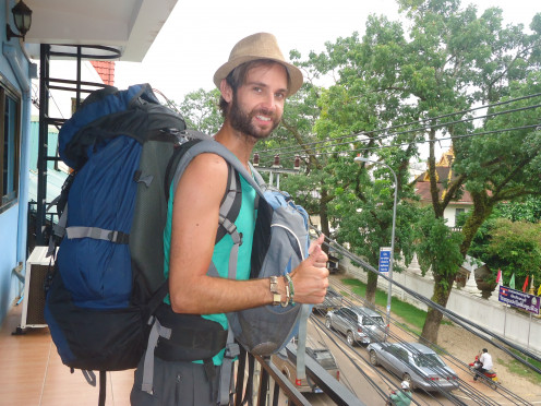 My blue rucksack that I took on my around the world travelling.