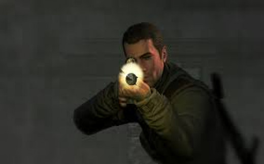 Sniper Elite came out for the Xbox in 2005 and it has had a sequel. It shows the bullet as it travels through the air and it rips through the skin.