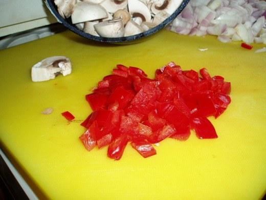 chopped red peppers and onions