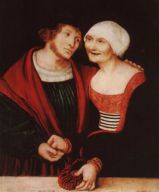 "An early cougar? ""Amorous Old woman with Young Man"" by Lucas Cranach the Elder, circa 1522"