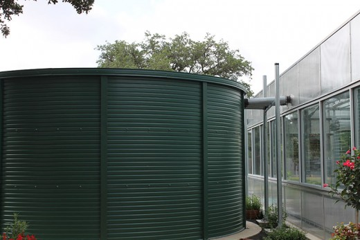 A 10,000 gallon rainwater collection tank at the Houston Parks main greenhouse facility is used to collect and store rainwater off the large greenhouses.
