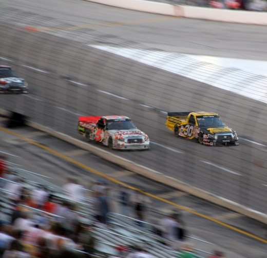 Race cars (or trucks) will look like a blur as they blow past fans.