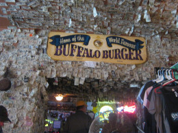 Inside the hotel is a saloon and restaurant where dollar bills are stapled to the walls, The waitress told us the dollar bills were put there originally by miners... to pay for future drinks.