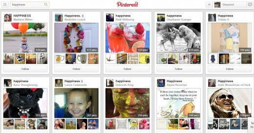 Screen Shot of Pinterest - Searching Happiness Boards