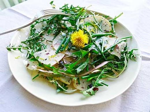 Dandelion, Apple & Hazelnut Salad