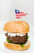 Roasted Pepper, Zesty Horseradish, and Blue Cheese Hamburger - Recipe with Pictures