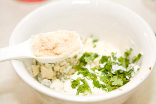 Drain the spoonful of horseradish and then add to the mixture.