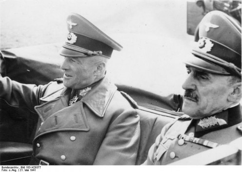 Nazi German Military Governor of Paris General Otto von Stüpnagel (right) with Marshal Walther von Brauchitsch (left), 1941