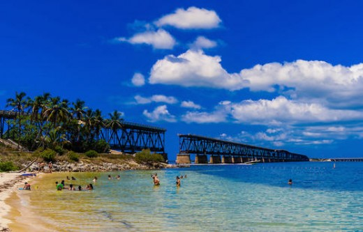 Bahia Honda State Park with old rail bridge