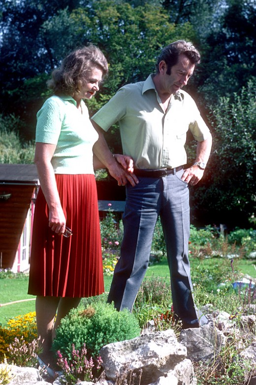 Mum and dad in their garden in 1979