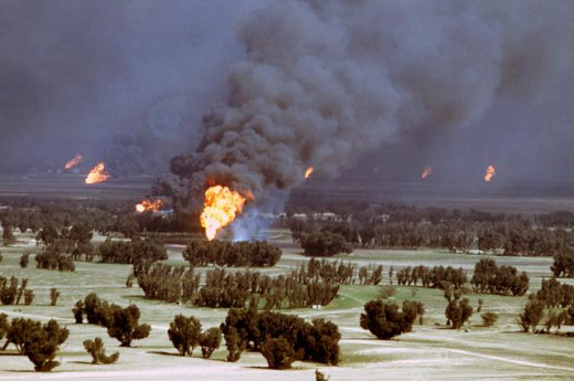 After completing their withdraw from Kuwait in 1991 Iraqi forces burned all of Kuwait's oil fields as a part of their scorched earth policy.