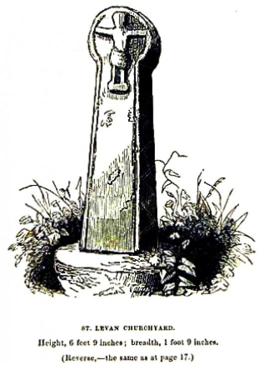 St Levan's Church: Stone Cross drawn in 1856 by Blight.