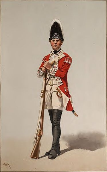 British Soldier of the same time period, Note the flintlock musket, which was superior to the matchlock in several ways.Also note the lack of armor vs. the Chinese soldier pictured above.