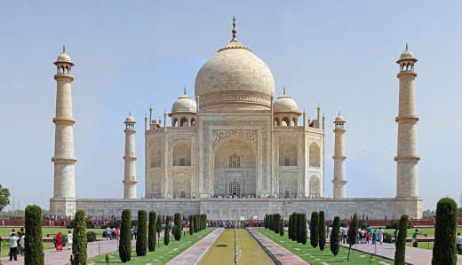 The Taj Mahal is a white marble mausoleum located in Agra, Uttar Pradesh, India. It was built by Mughal emperor Shah Jahan in memory of his third wife, Mumtaz Mahal.