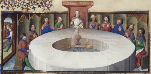 King Arthur and the Knights of the Round Table revel in the presence of the Holy Grail, the cup which is said to have caught the blood of Jesus at his crucifixion.