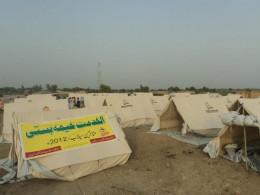 Tent village in punjab pakistan build by Al-khidmat Foundation in flood area (2012).