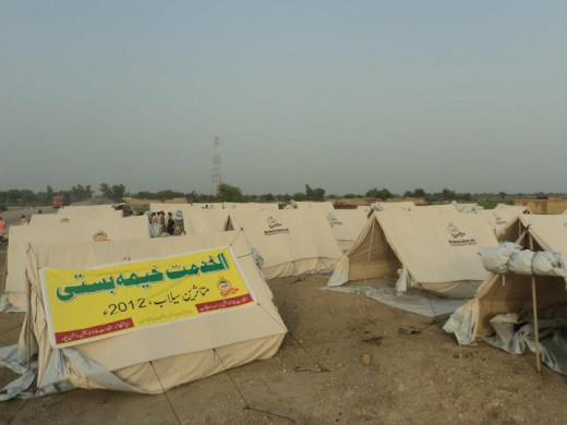 Tent village in punjab pakistan build by Al-khidmat Foundation in flood area (2012).